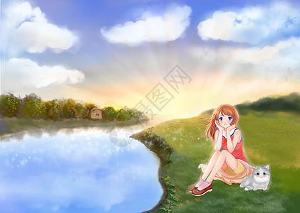 湖边女孩图片