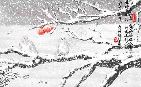 雪里的鸟儿图片