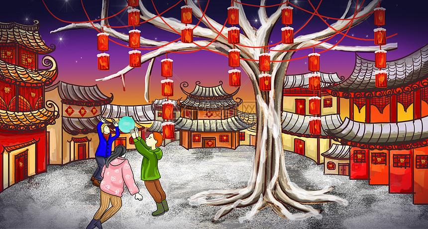 新年新气氛_春节嬉戏打闹场景插画图片下载-正版图片400095682-摄图网