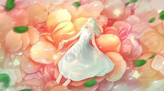 花瓣上的女孩图片