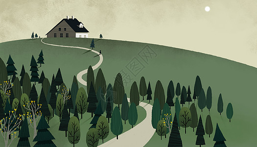 丛林山坡小屋图片