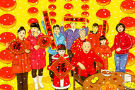 春节团圆全家福图片