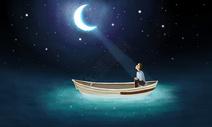 月下小船图片