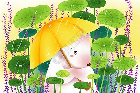 小清新雨水插画图片