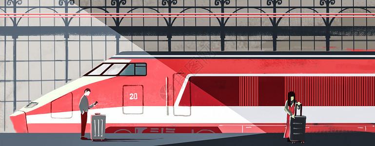 春运回家等车粉色车站插画图片