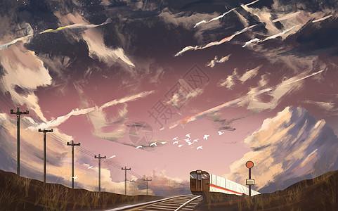 云朵下的火车图片