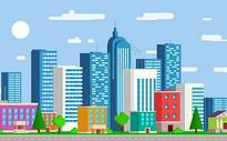 城市风光建筑偏平图片
