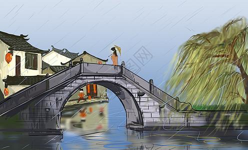 春雨画江南图片