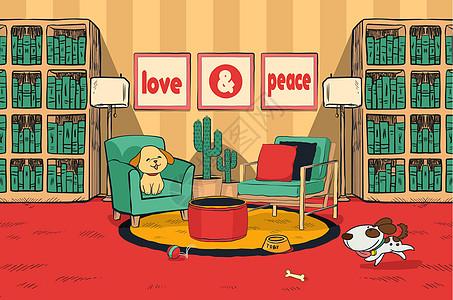 小狗在书房里玩耍图片