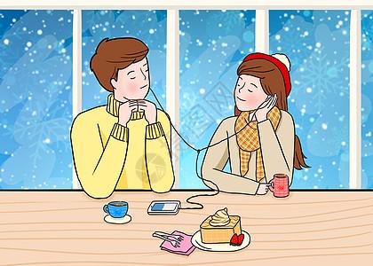 情侣在甜品店一起听着歌图片