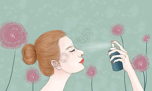 美女喷雾补水图片