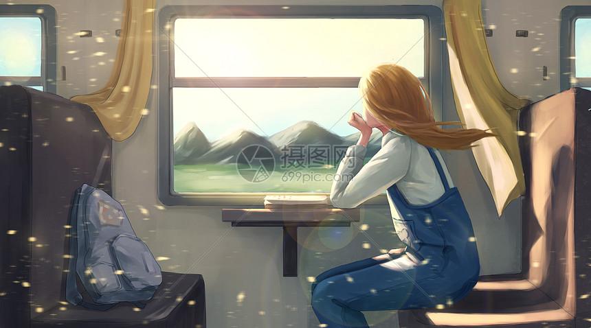 坐火车的女孩图片