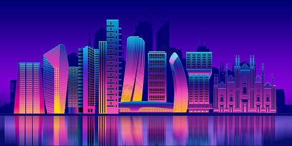 绚烂扁平化城市夜景图片