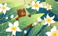 棕熊与树叶图片