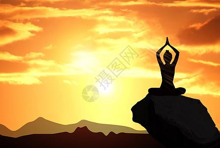 夕阳下做瑜伽图片
