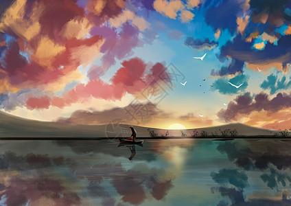 落日渔夫图片