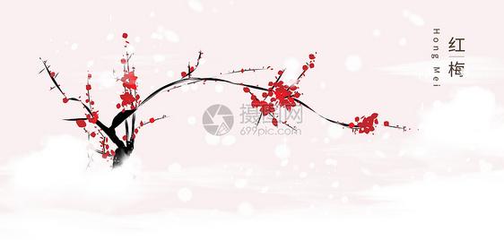 雪上红梅图片