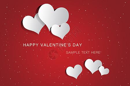 红色情人节卡片模板与白色的心图片