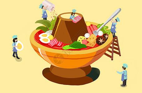 火锅插画图片