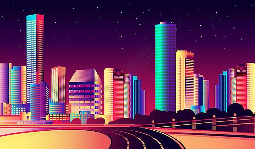 绚烂扁平化城市图片