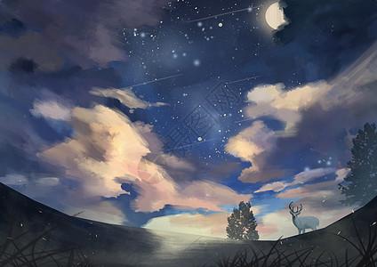 星空下的麋鹿高清图片