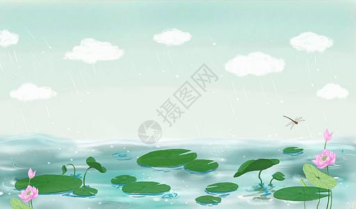 春天雨季荷塘插画图片
