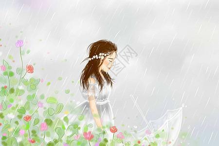雨中的女孩儿图片