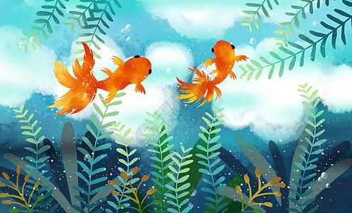 遨游的金鱼图片