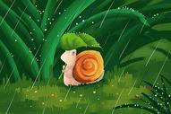 雨天中的蜗牛图片