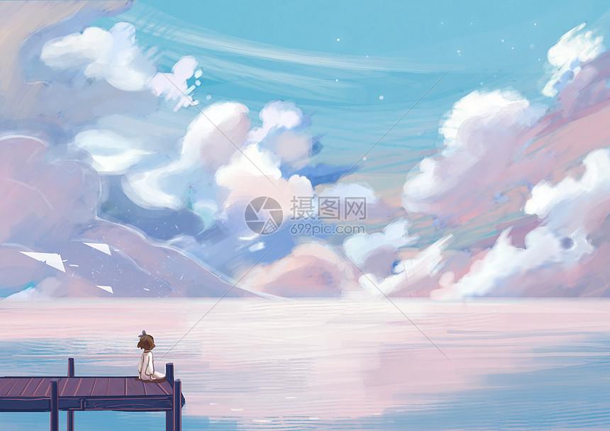 免抠动漫素材_少女海洋插画图片下载-正版图片400099114-摄图网