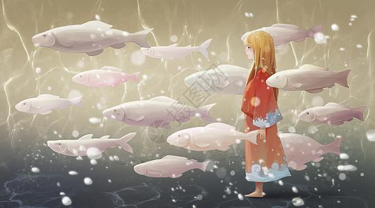 鱼群中的女孩图片