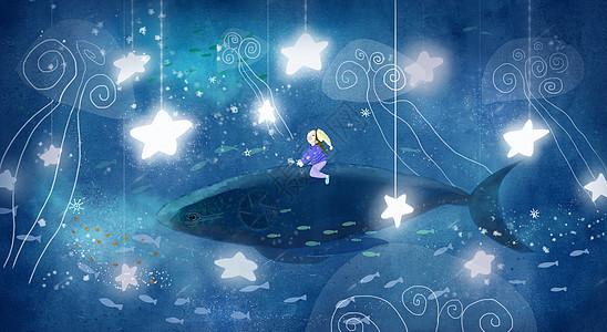 遨游星空的鲸鱼图片