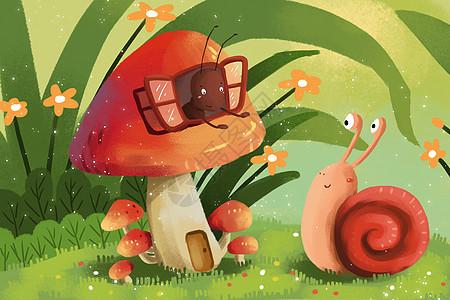 可爱昆虫插画图片