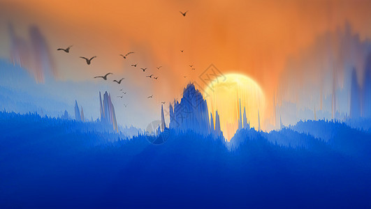 创意山丘夕阳风景图片图片