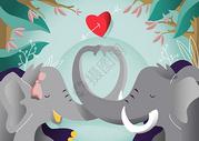 相爱的大象图片