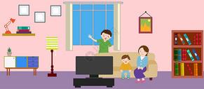 幸福看电视的一家人图片