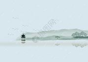 雨水中国风古墨画图片