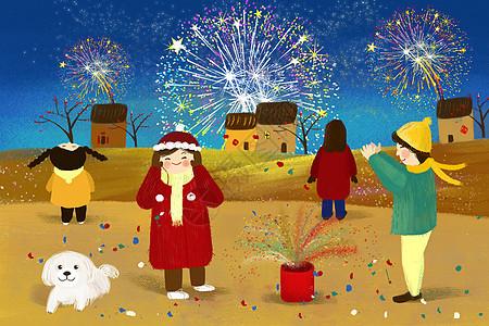 春节放烟花图片