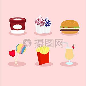 手绘矢量食物图标素材图片