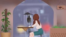 咖啡店的少女图片