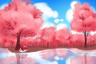 春天红色樱花树林壁纸图片