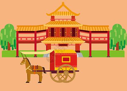 中国传统建筑马车扁平插画图片