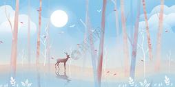 森林月光的鹿图片