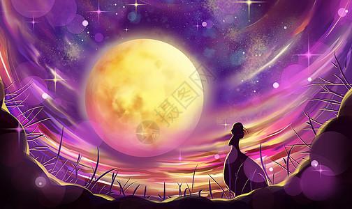 月光下的女孩图片