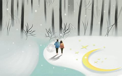 雪景下的情侣图片