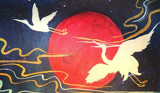 仙鹤和风插画高清图片