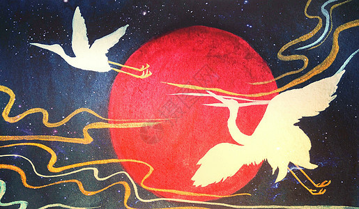 仙鹤和风插画图片