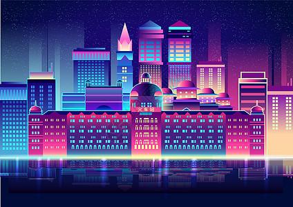 炫彩扁平化城市图片