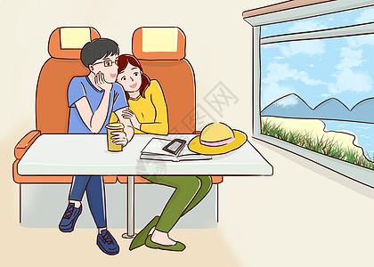 坐在火车上看窗外风景图片