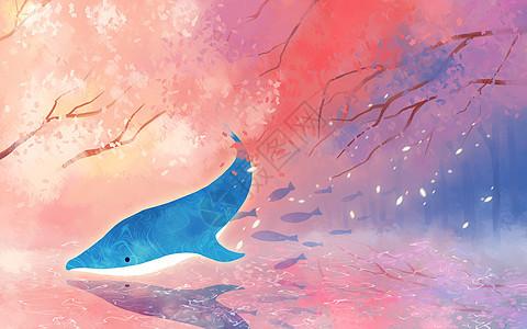 梦幻樱花海豚图片